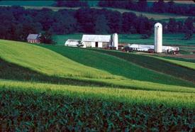 farm in valley